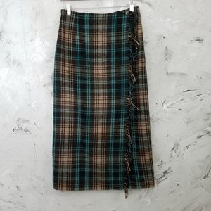 CAMBRIDGE COUNTRY Brown & Min Blue Wool Wrap Skirt